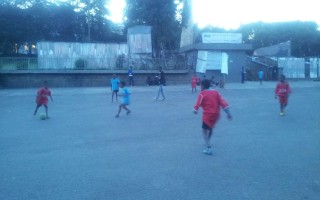 Children playing football at Ethio Cuba square