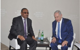 PM Netanyahu and PM Hailemariam at Davos side meeting