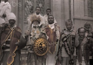 A group of armed Ethiopian warriors, Credit Corbis