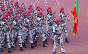 Eritrean army members on parade