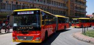 Bishoftu Buses during inaugural trip around Piassa